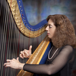 Lisa with her electric harp